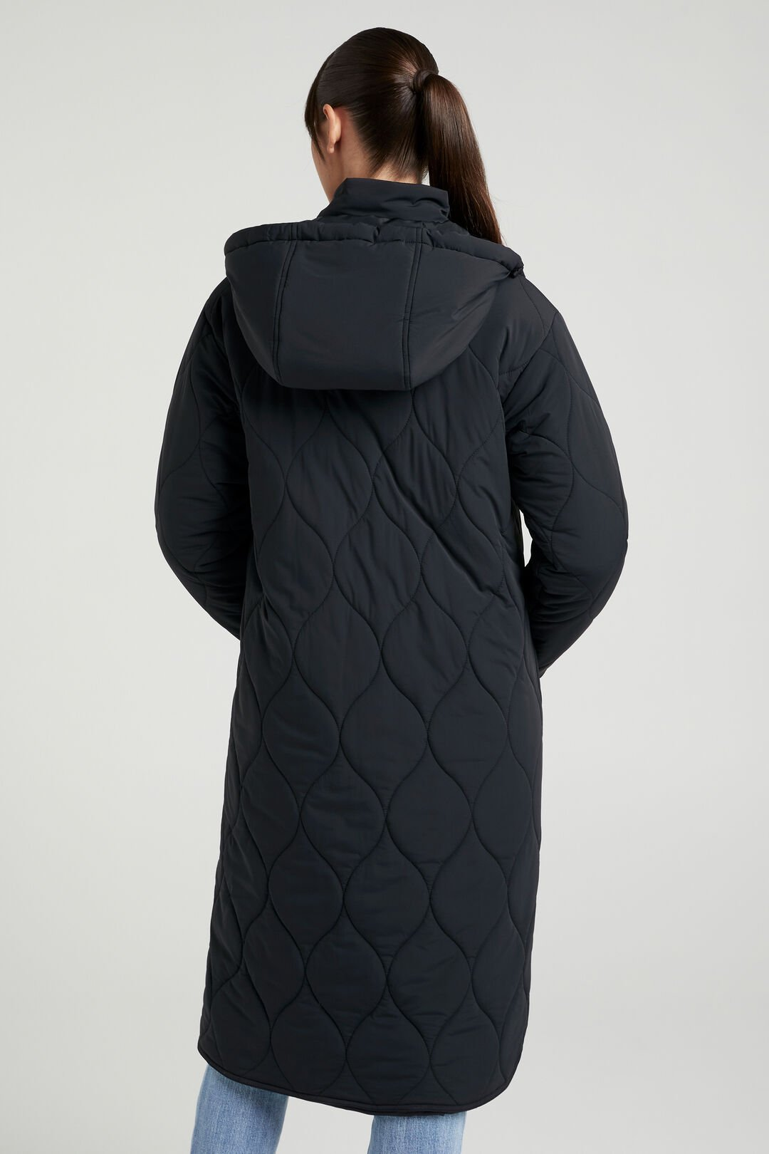 RELAXED QUILTED LONGLINE JACKET  BLACK  hi-res