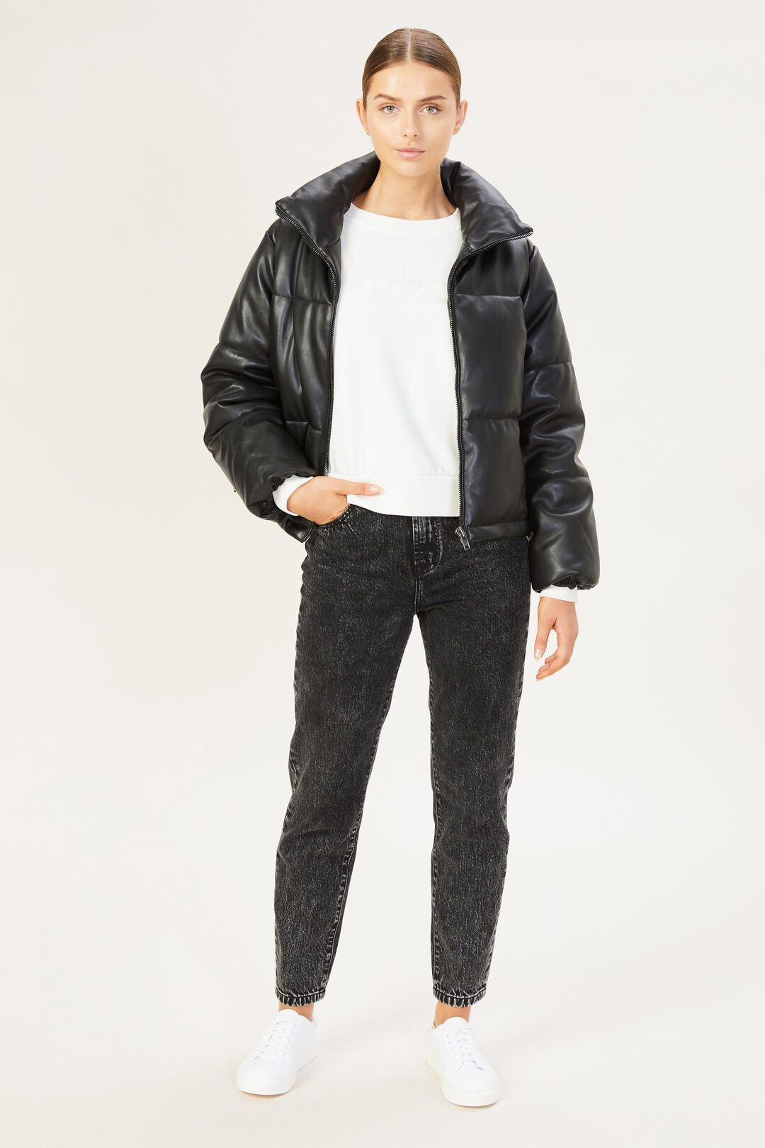 LEATHER LOOK PUFFER  BLACK  hi-res