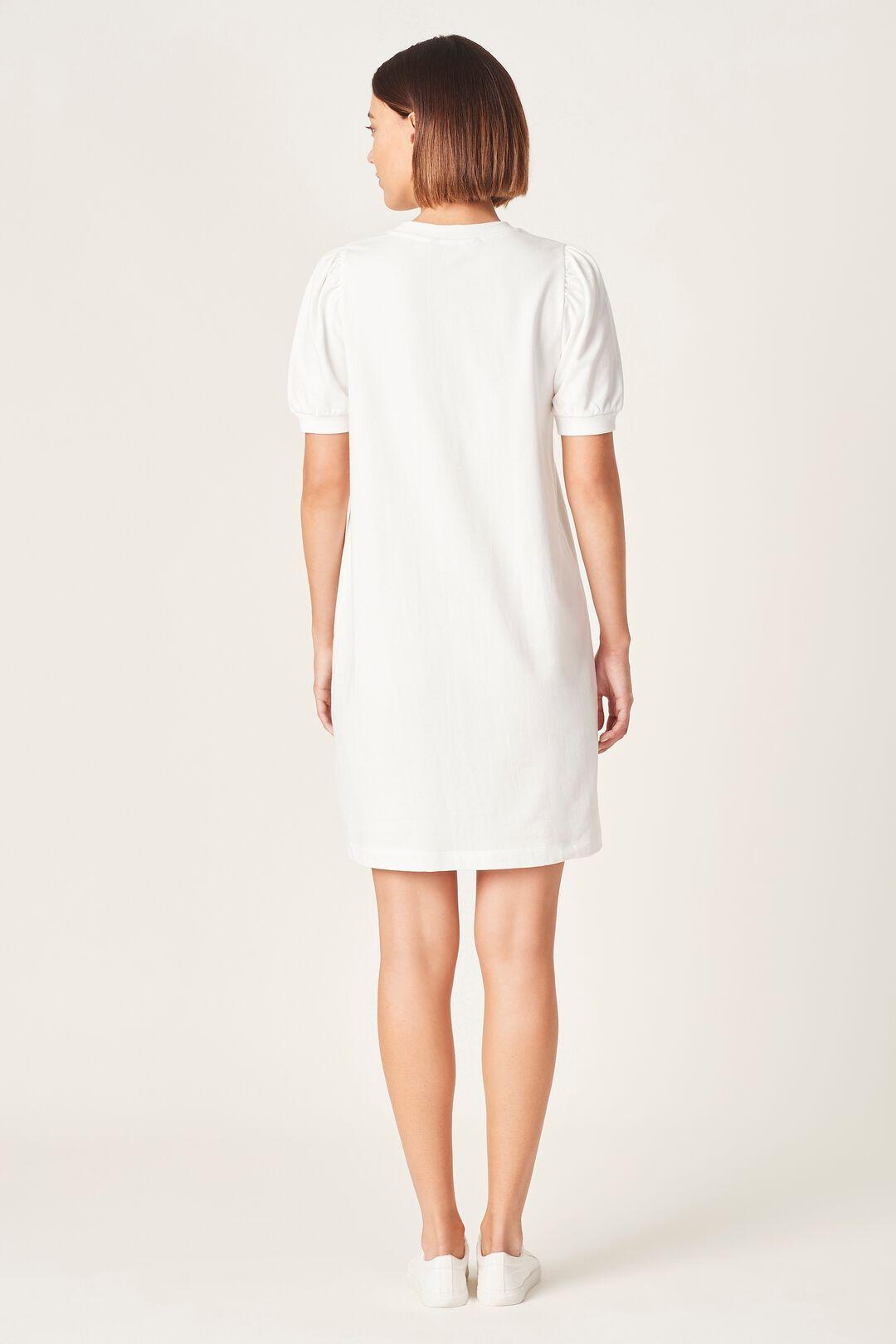 PUFF SLEEVE SWEAT DRESS  WHITE  hi-res