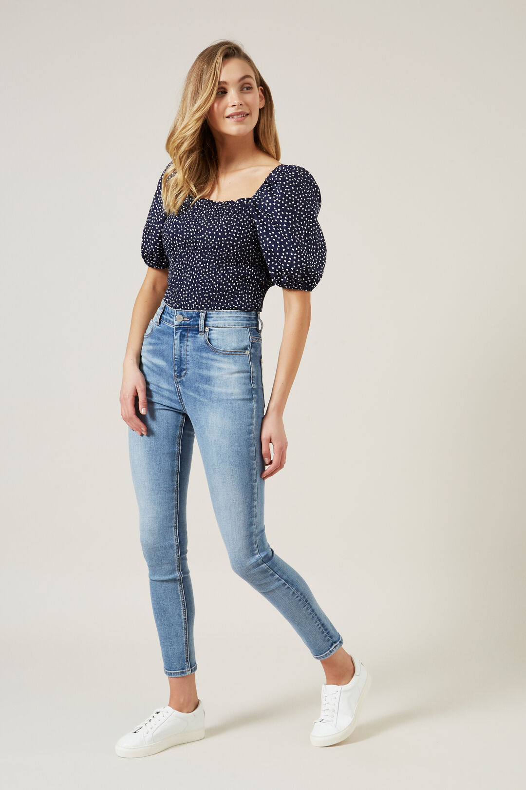 PUFF SLEEVE SHIRRED TOP  FRENCH NAVY/WHITE  hi-res