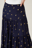 FLORAL TIERED MIDI SKIRT  FRENCH NAVY/MARIGOLD  hi-res