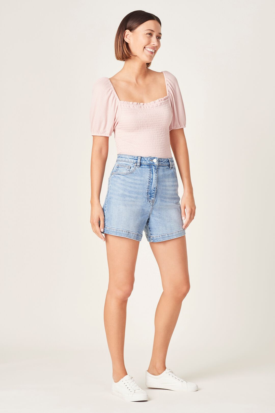 SHIRRED PUFF SLEEVE TOP  SOFT PINK  hi-res