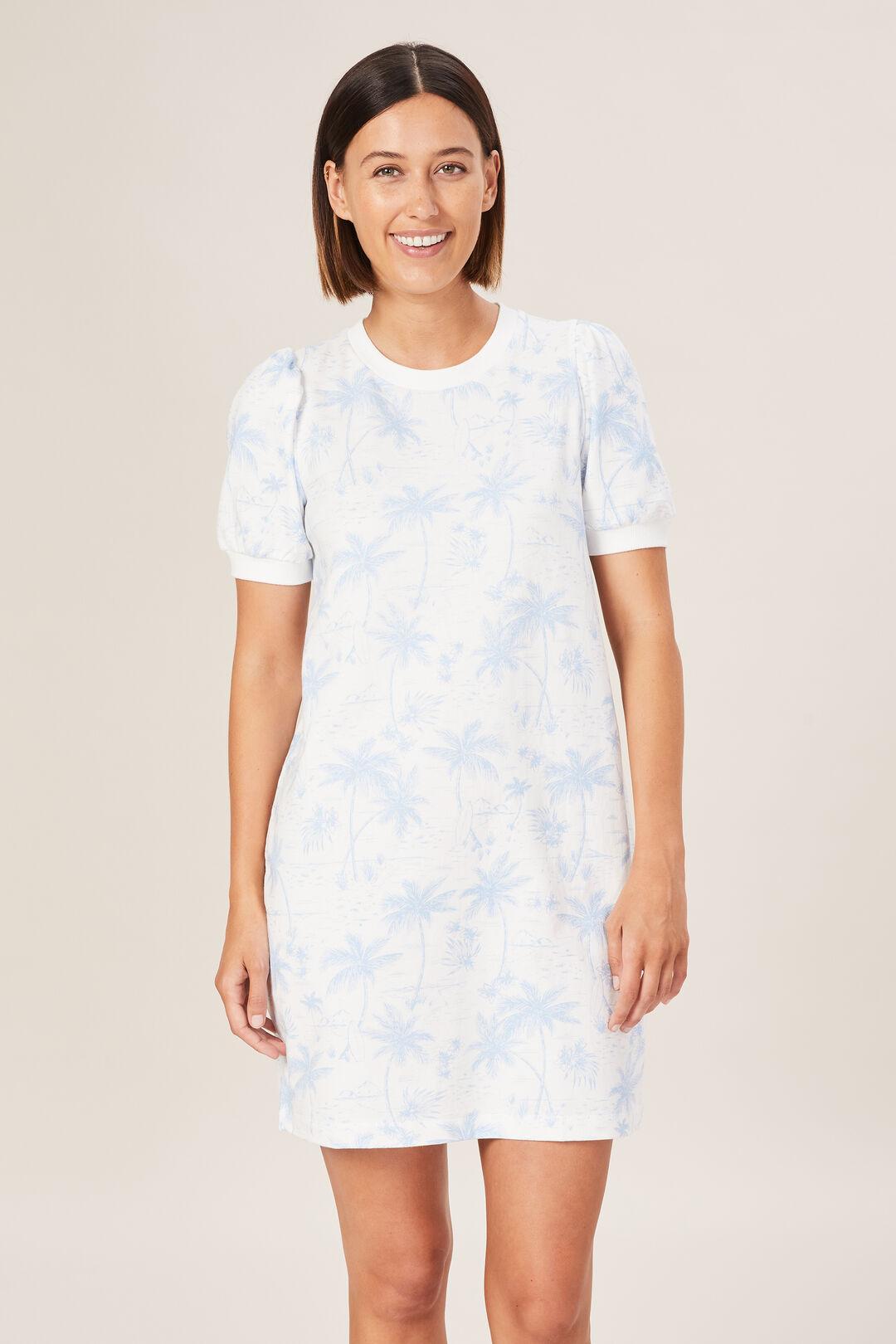 TROPICAL PRINT SWEAT DRESS  INDIGO TROPICAL  hi-res