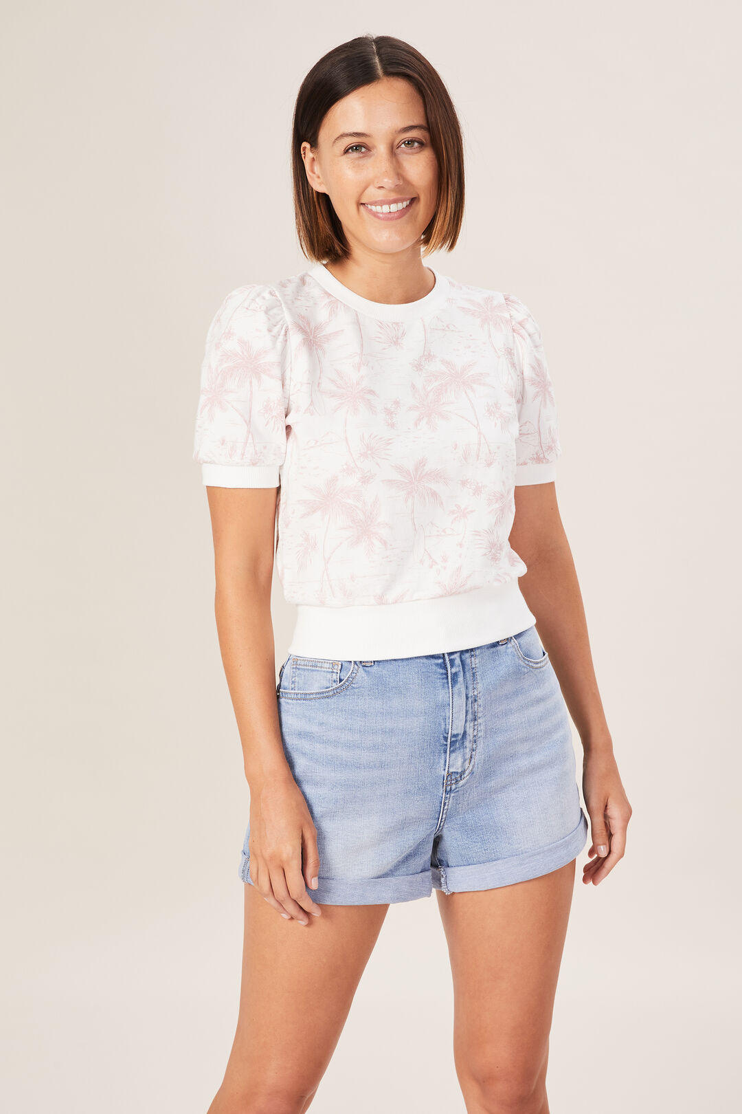 TROPICAL PUFF SLEEVE SWEAT  WASHED PINK/SUMMER W  hi-res