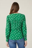 SPOTTED KNOT DETAIL SHIRT  SPRING GREEN SPOT  hi-res