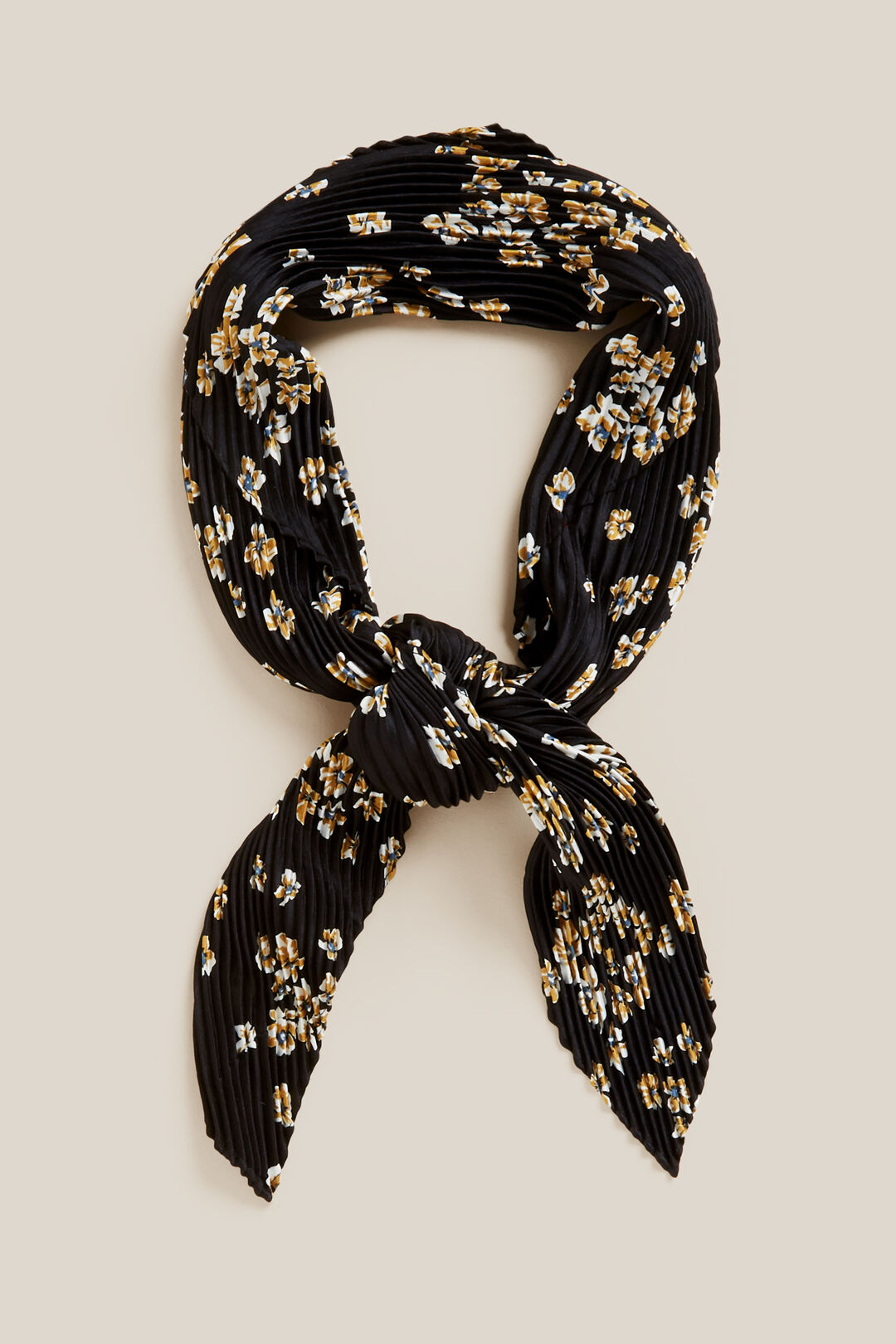 DITSY FLORAL PLEATED SCARF  BLACK/YELLOW  hi-res