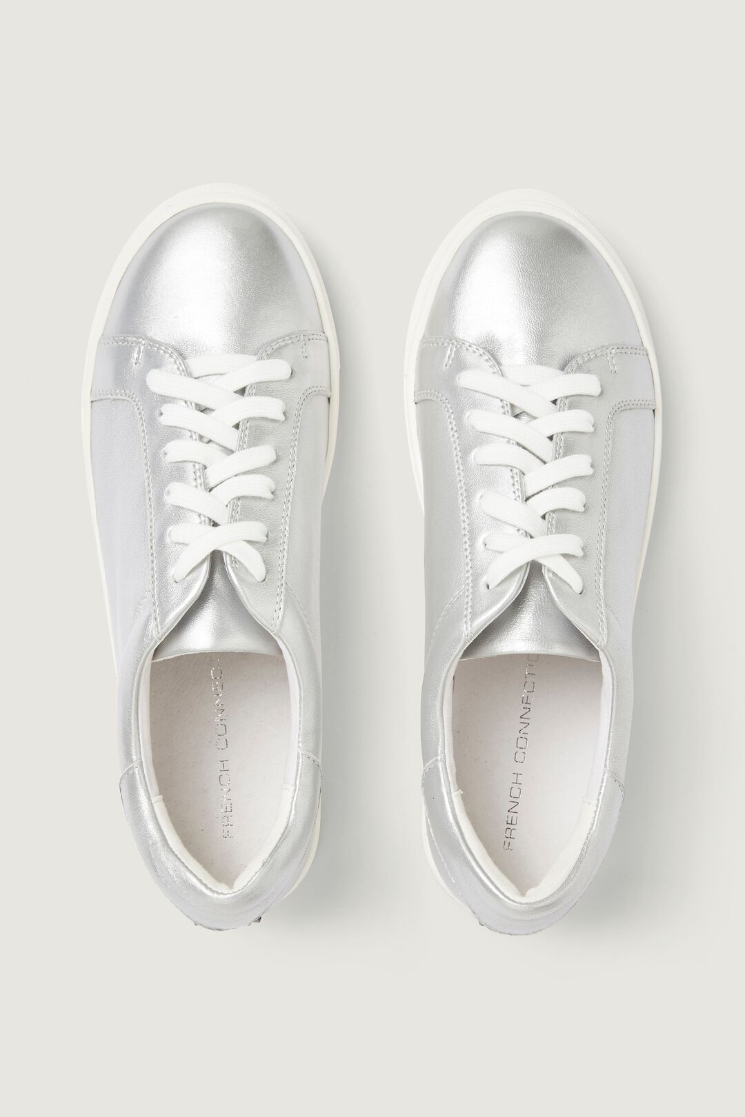 SILVER LEATHER SNEAKER  SILVER  hi-res