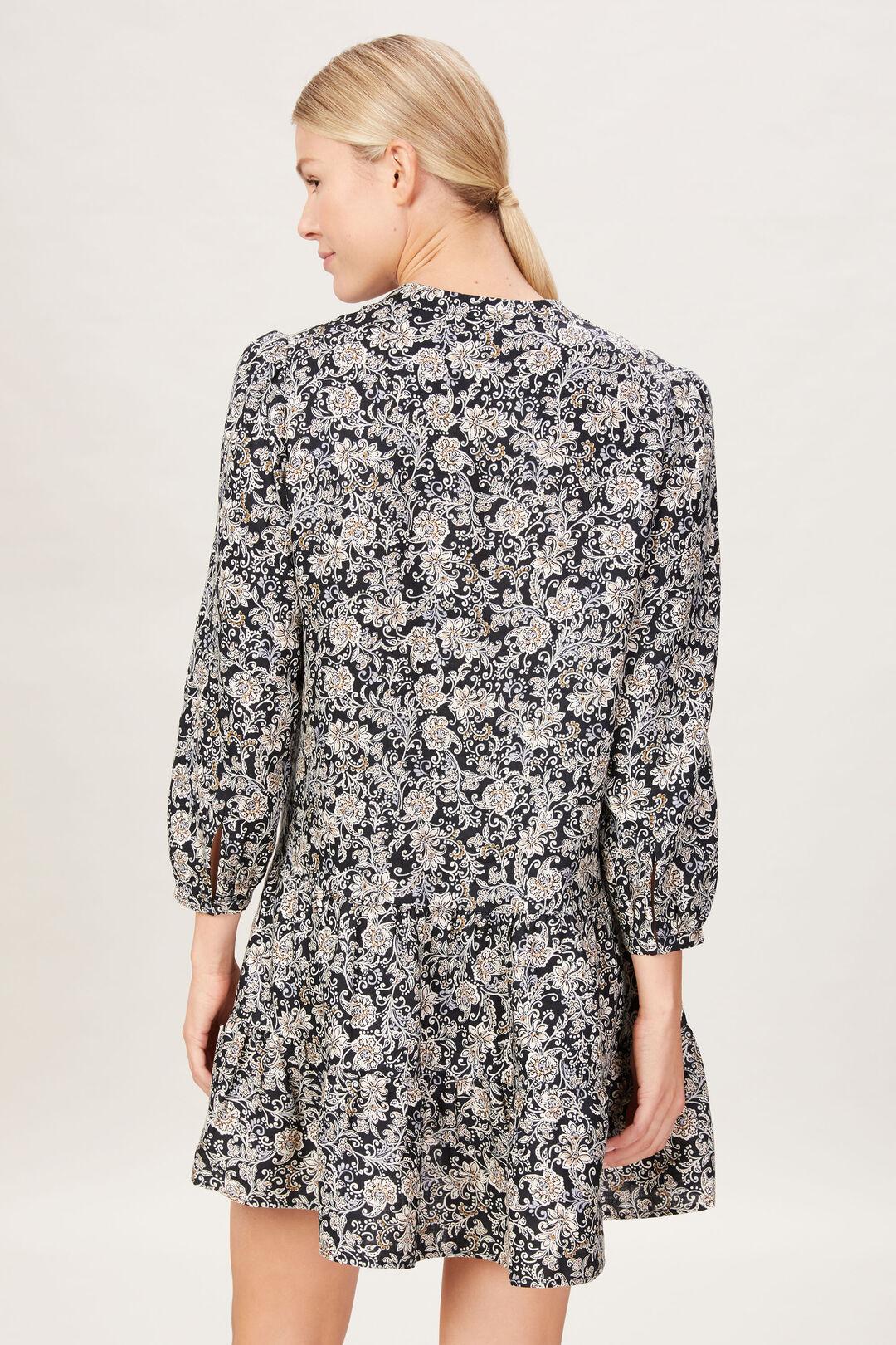 FRENCH LINEN V-NECK DRESS  MULTI  hi-res
