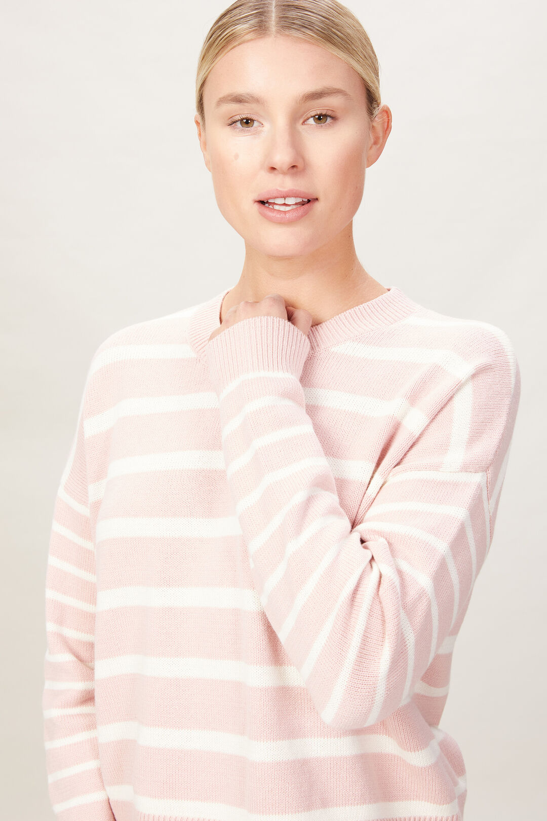 STRIPE PULL OVER KNIT  DUSTY PINK  hi-res