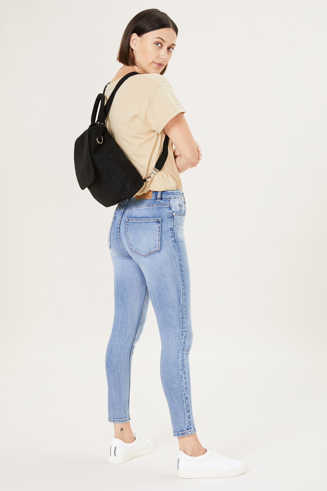 SUEDED CONVERTIBLE BACKPACK  BLACK  hi-res