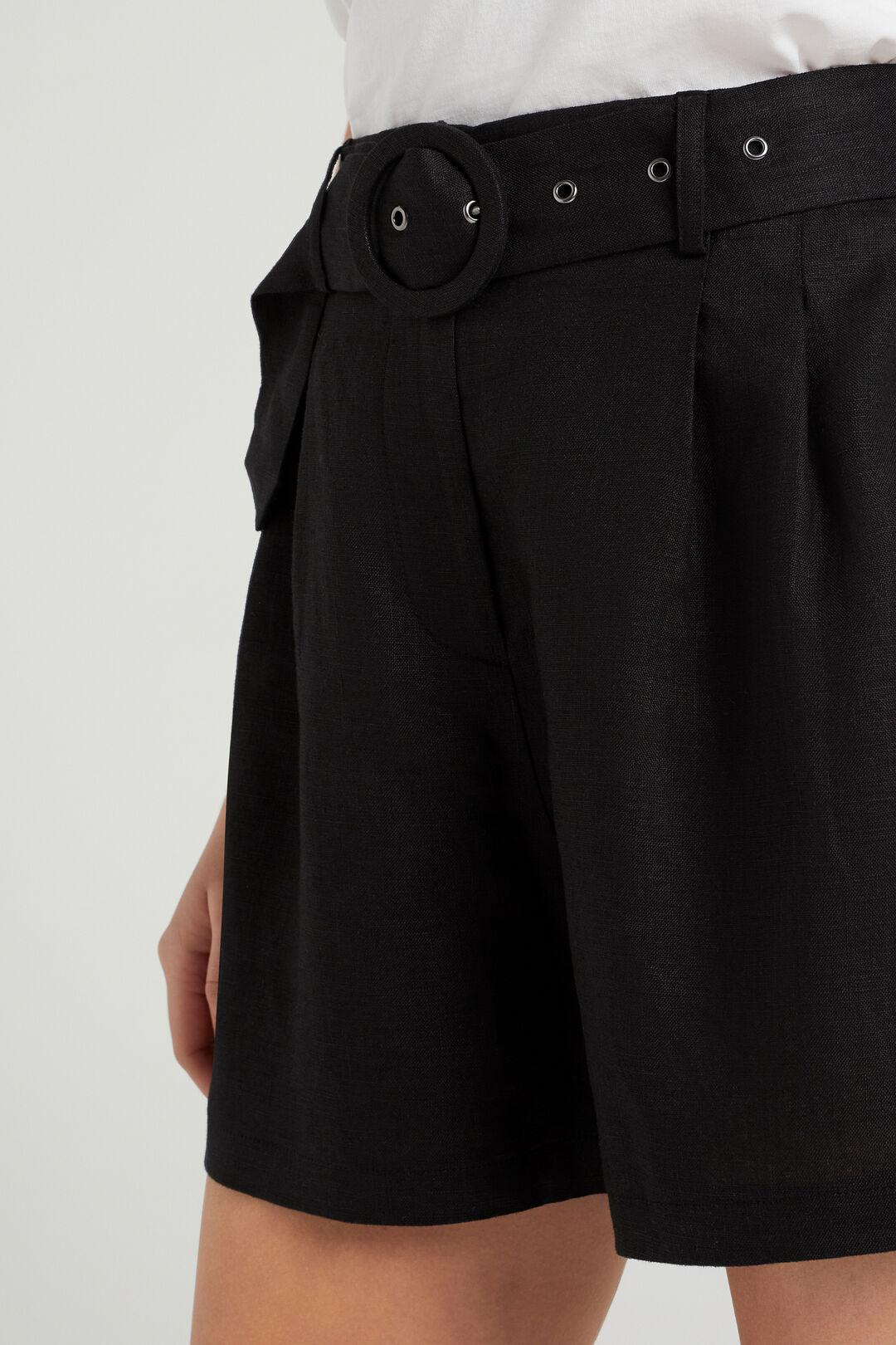 LINEN BELTED SHORT  BLACK  hi-res