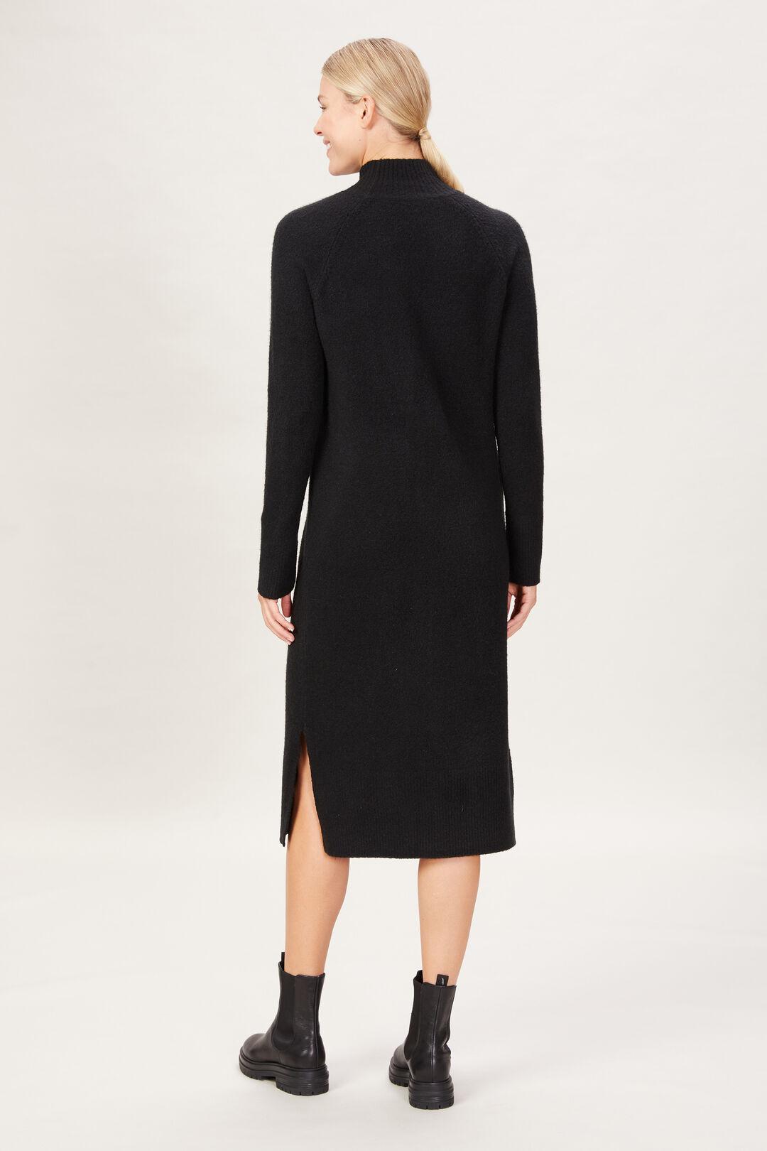 COSY HIGH NECK DRESS  BLACK  hi-res
