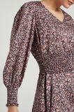 SHIRRED BELTED DRESS  VINTAGE FLORAL  hi-res