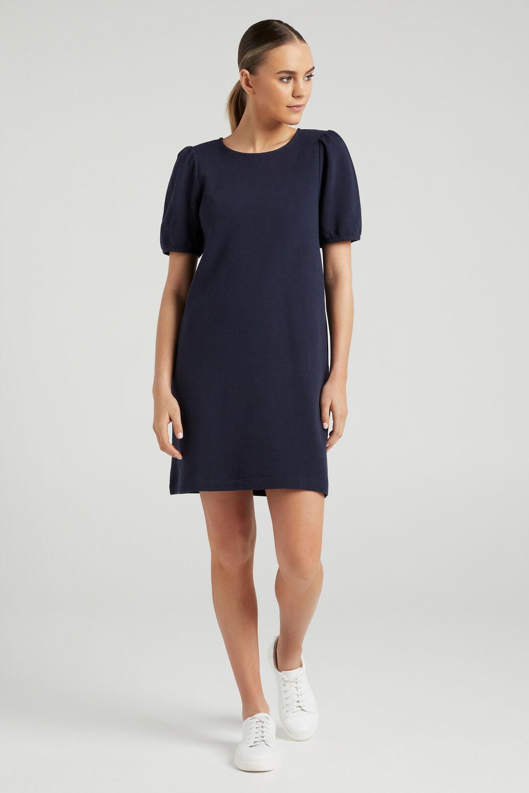 TEXTURED JERSEY DRESS  NAVY  hi-res