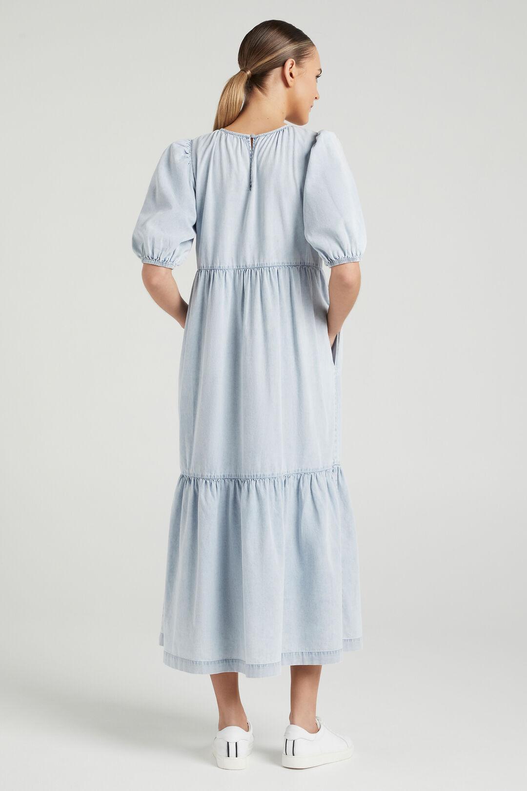 CHAMBRAY TIERED DRESS  CHAMBRAY  hi-res