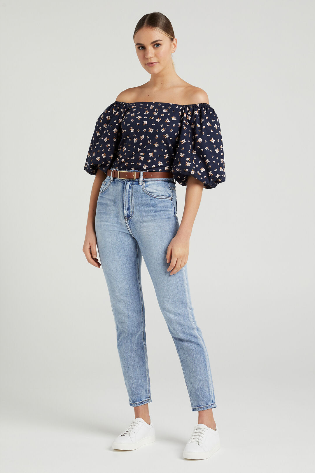 SHIRRED PUFF SLEEVE TOP  MEADOW FLORAL  hi-res