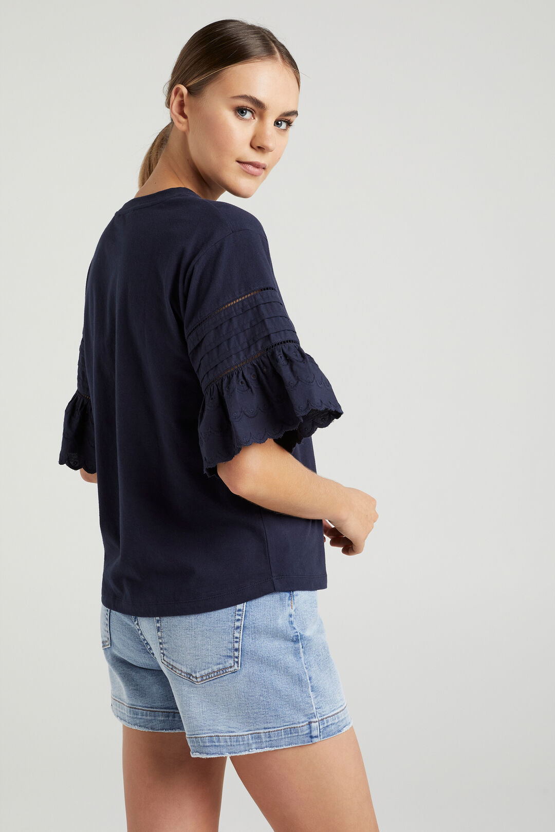BRODERIE SLEEVE T-SHIRT  FRENCH NAVY  hi-res