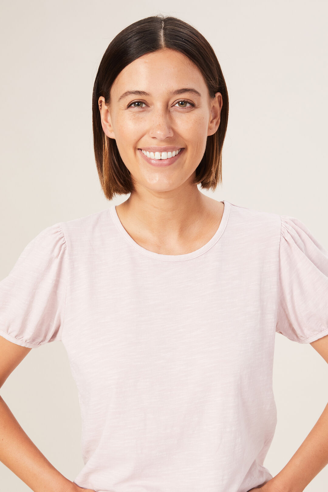WASHED PUFF SLEEVE T-SHIRT  WASHED PINK  hi-res