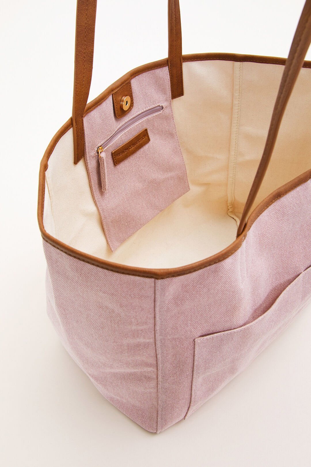 POCKET FRONT CANVAS  TOTE  DUSTY PINK  hi-res