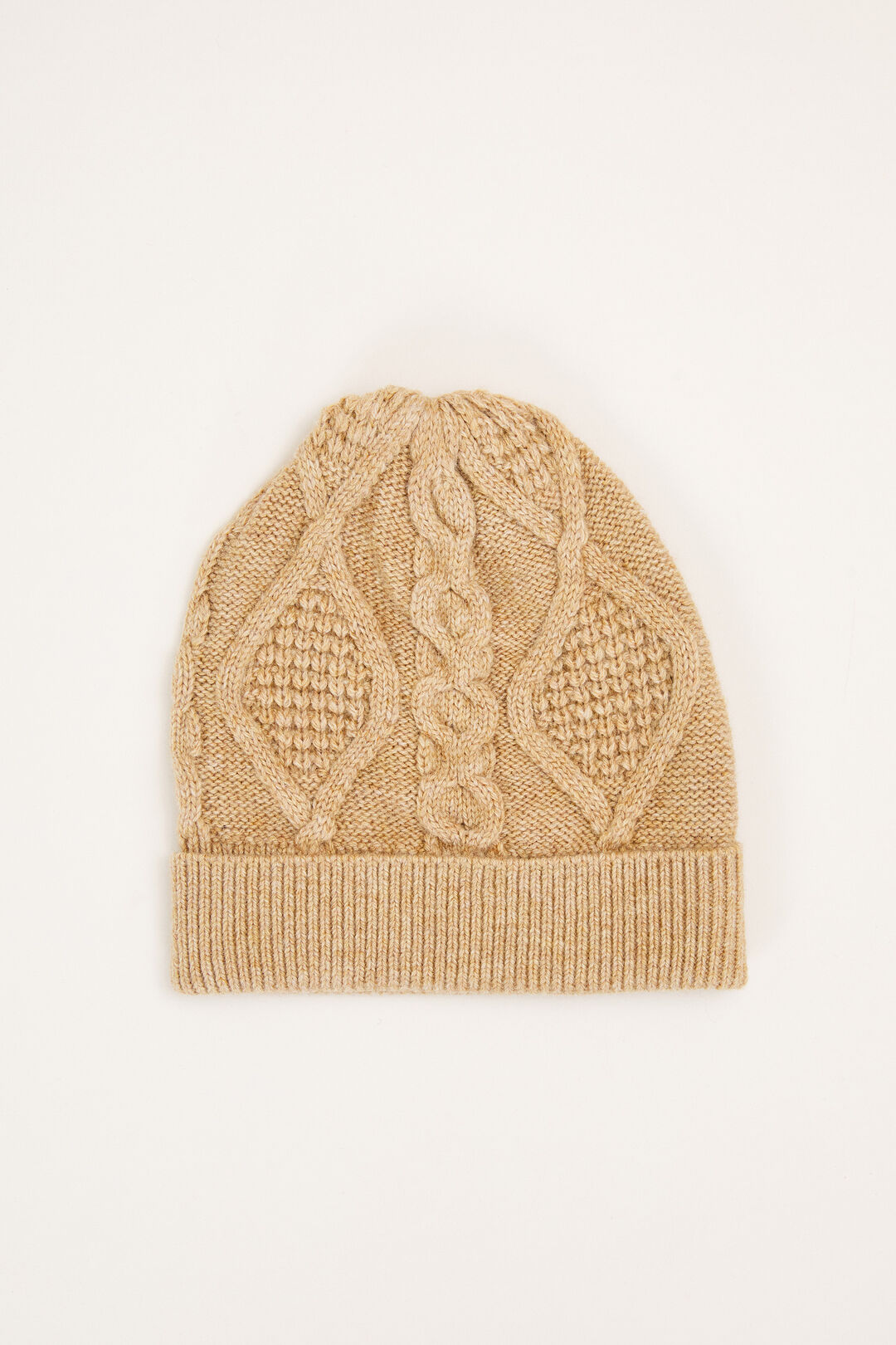 CABLE KNIT BEANIE  CAMEL  hi-res