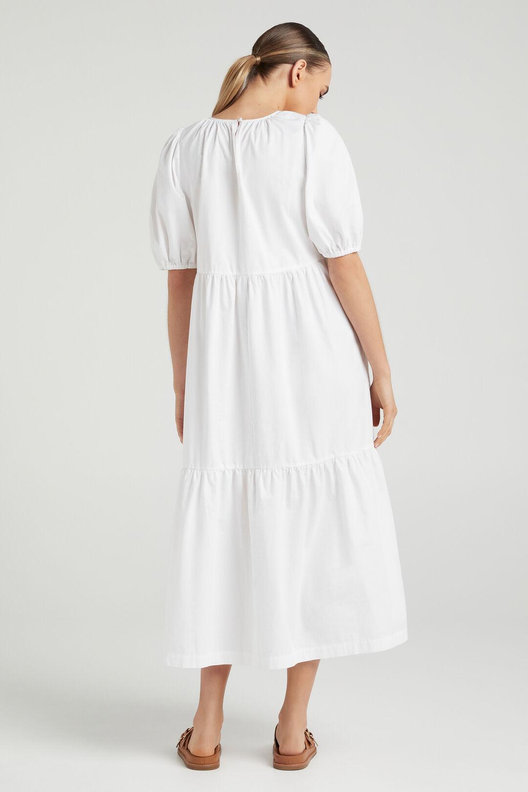 COTTON TIERED DRESS  WHITE  hi-res