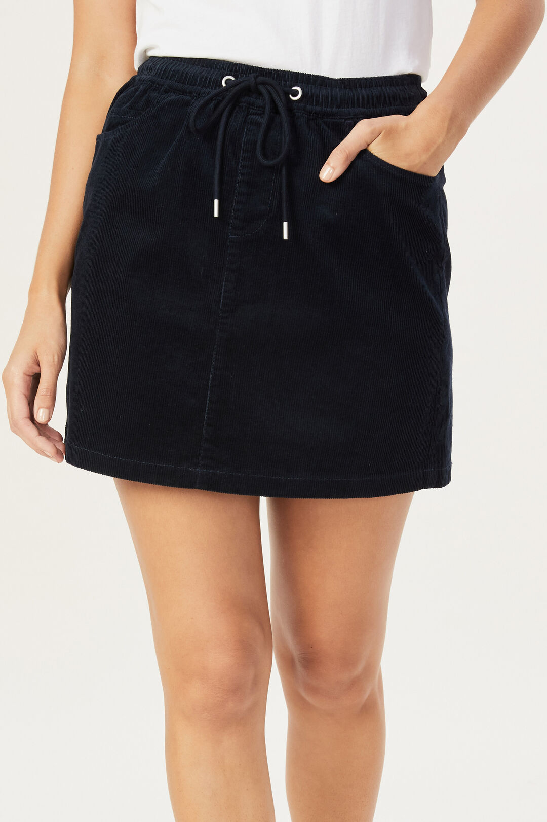 CORD STRETCH CASUAL SKIRT  NAVY  hi-res