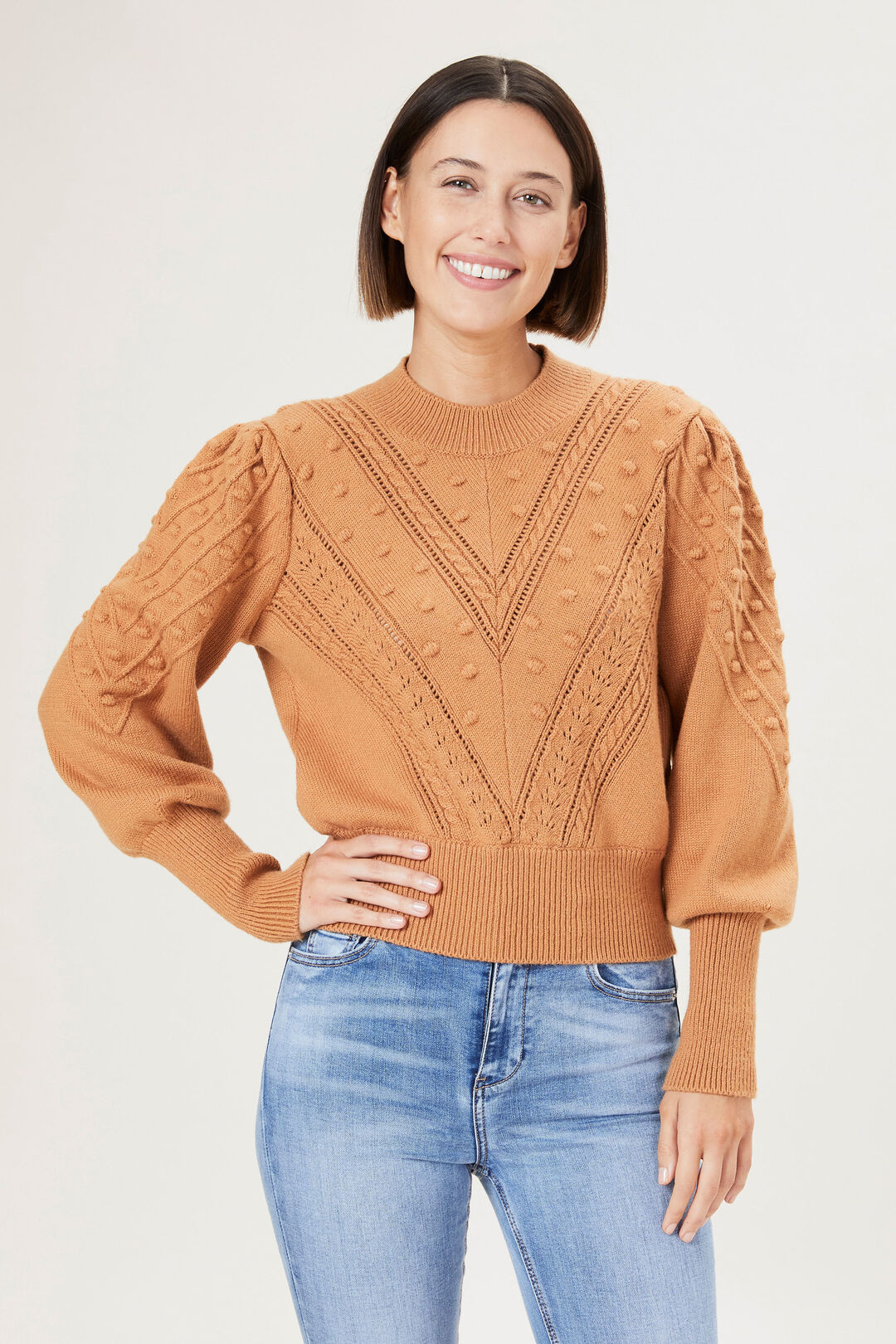 BOBBLE KNIT  TOFFEE  hi-res
