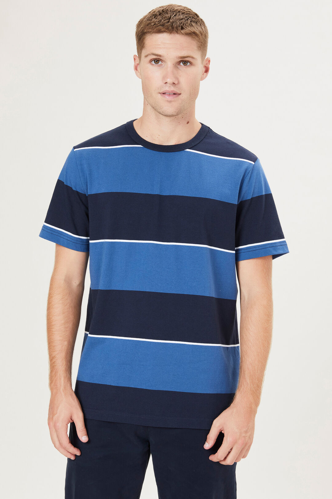 BLOCK STRIPE T-SHIRT  VINTAGE BLUE/NAVY  hi-res