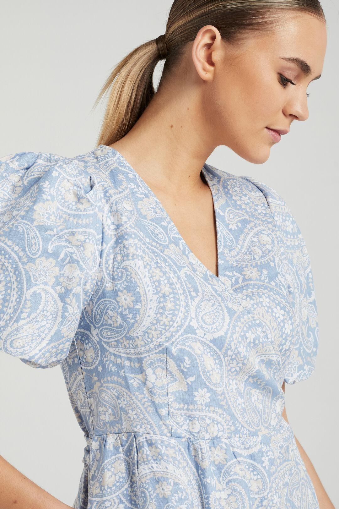 PAISLEY LINEN WRAP DRESS  SOFT BLUE PAISLEY  hi-res