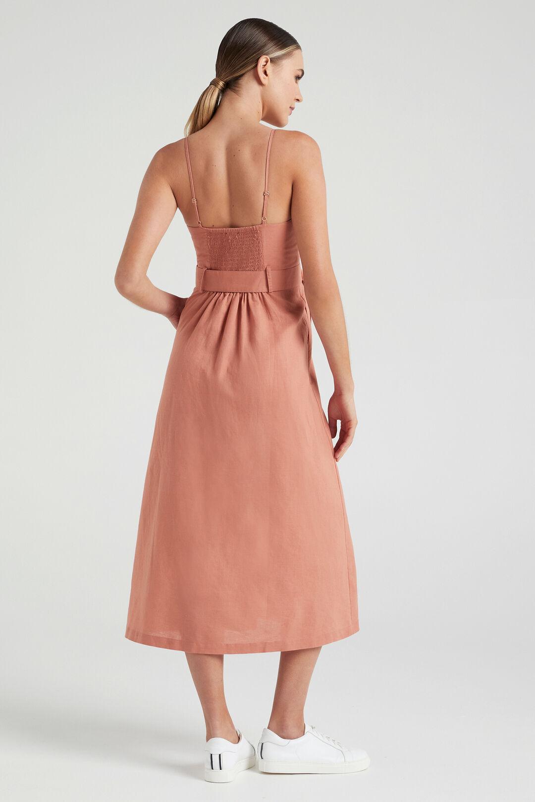 LINEN BUSTIER DRESS  FADED CLAY  hi-res