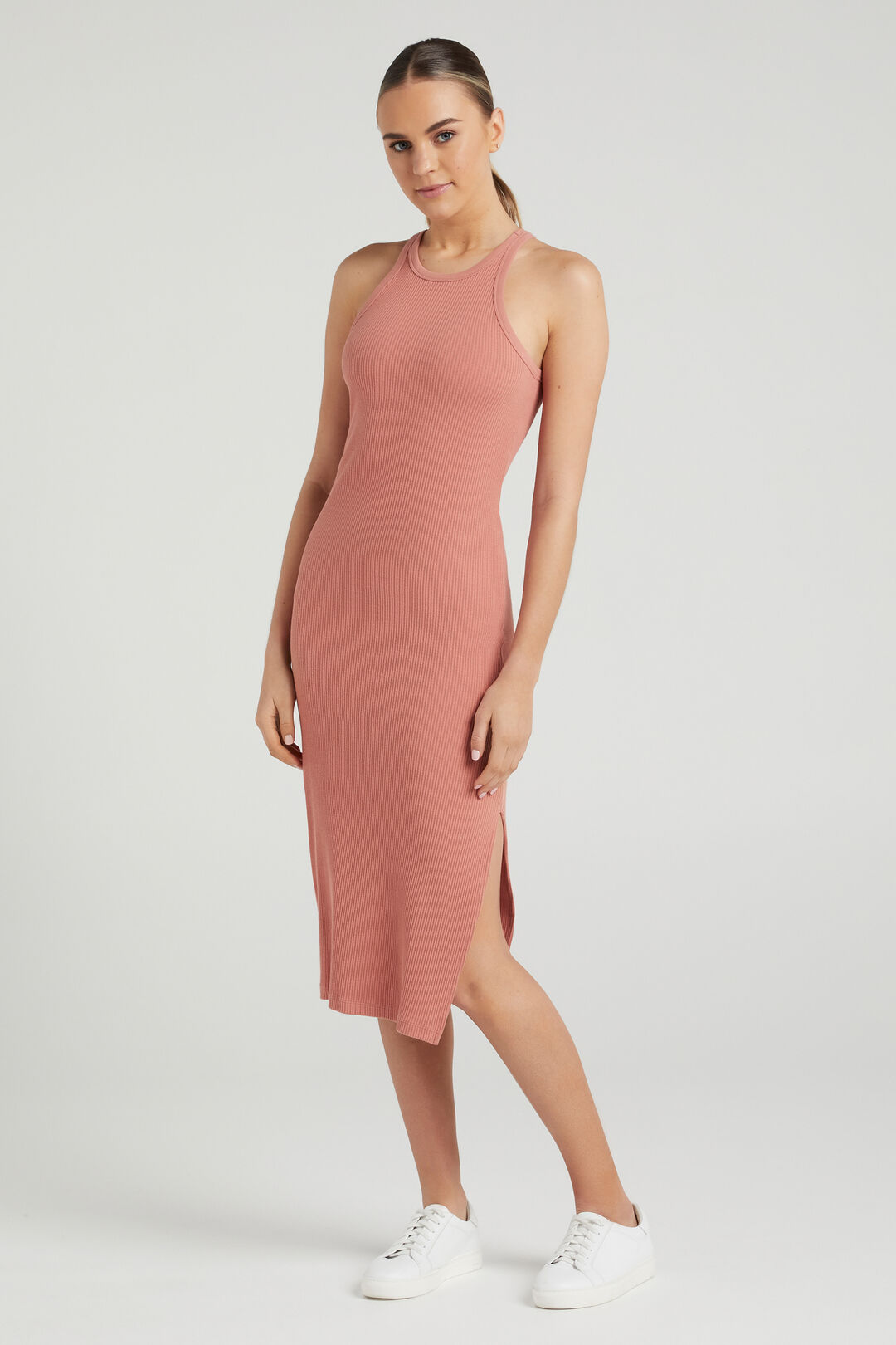 COTTON RIBBED DRESS  FADED CLAY  hi-res