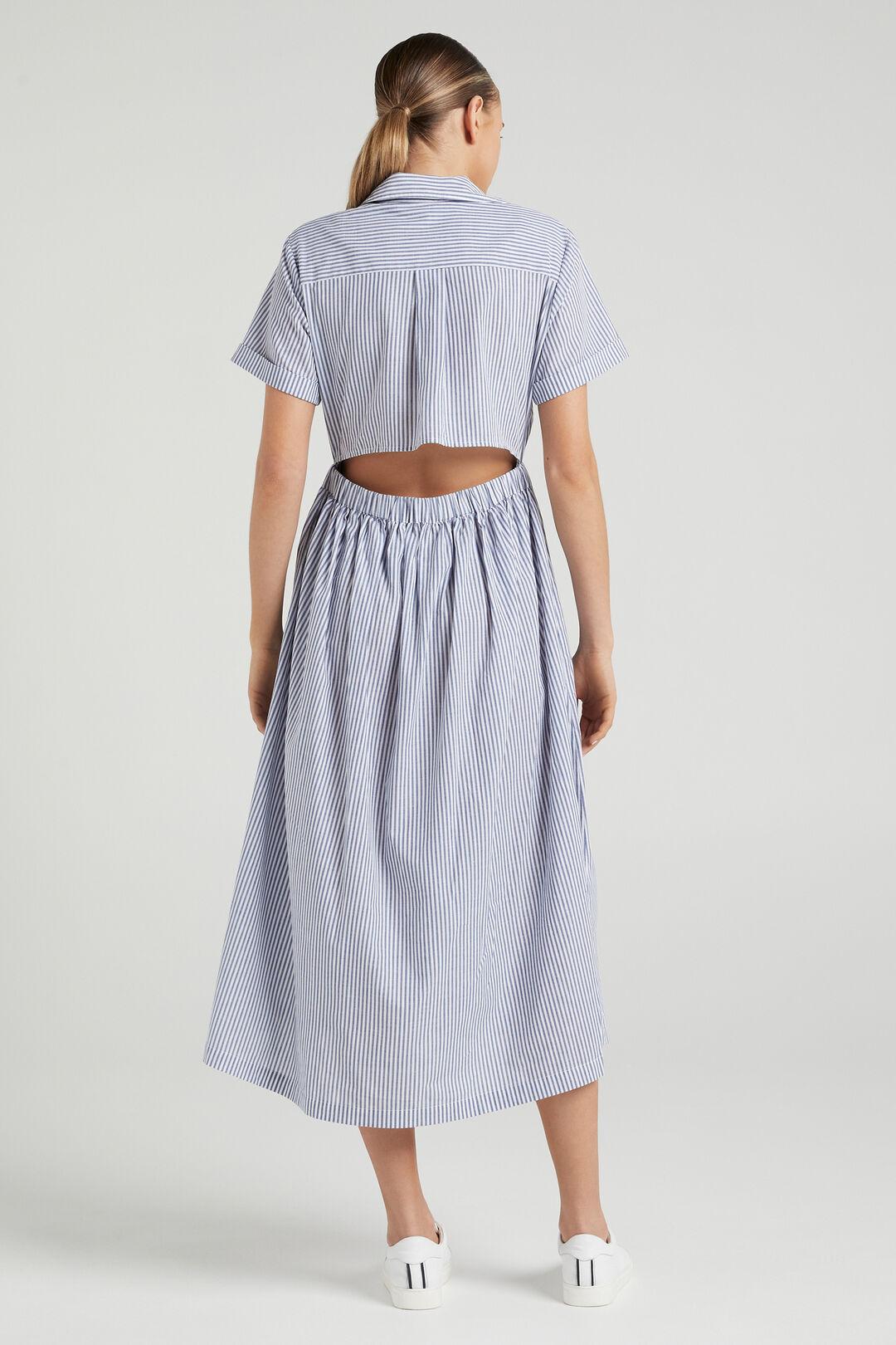 STRIPE CUT OUT DRESS  BLUE/WHITE  hi-res