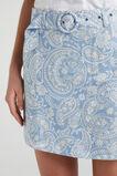 LINEN BELTED SKIRT  SOFT BLUE PAISLEY  hi-res