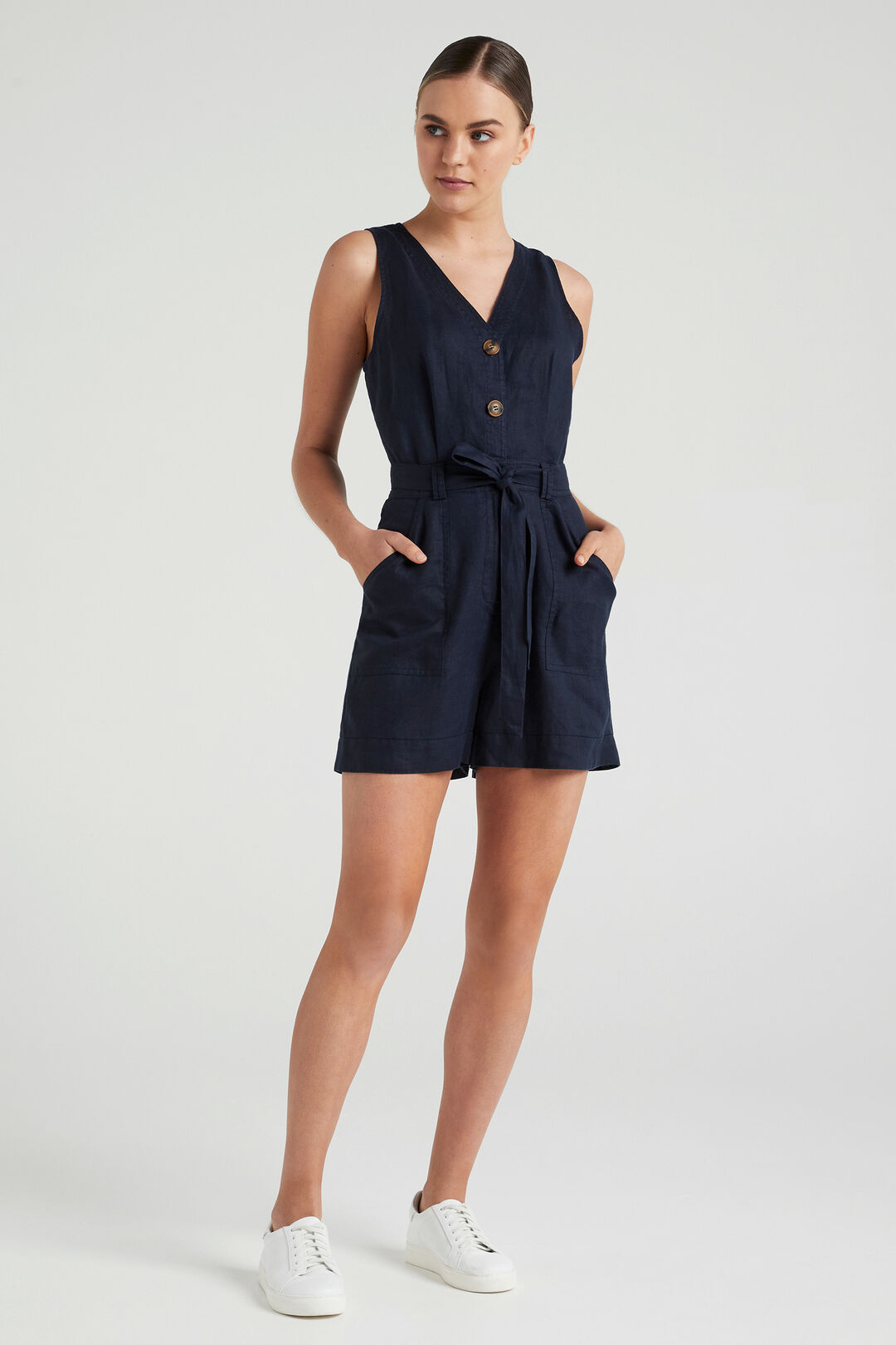 LINEN PLAYSUIT  FRENCH NAVY  hi-res