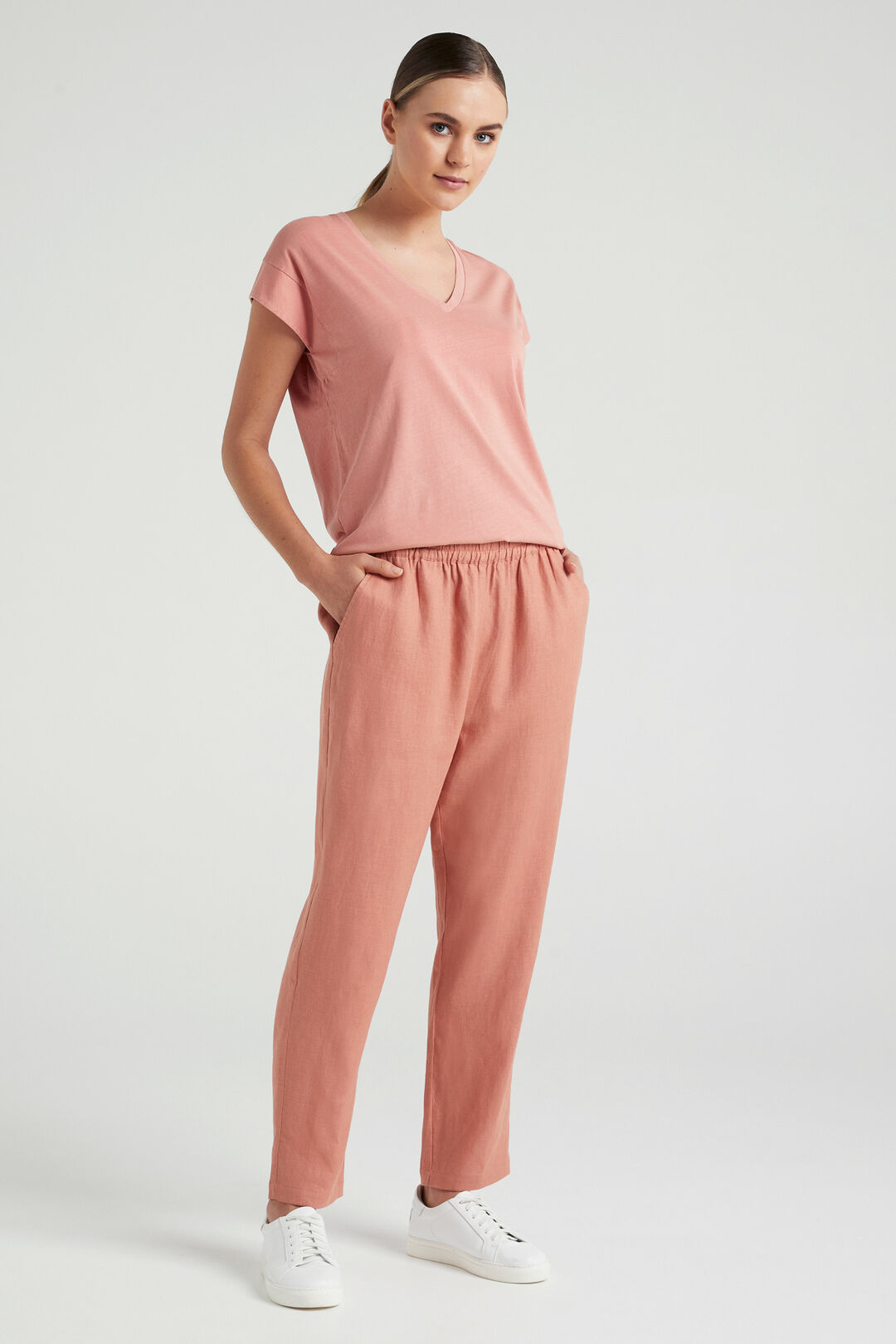 FRENCH LINEN RELAXED PANT  FADED CLAY  hi-res