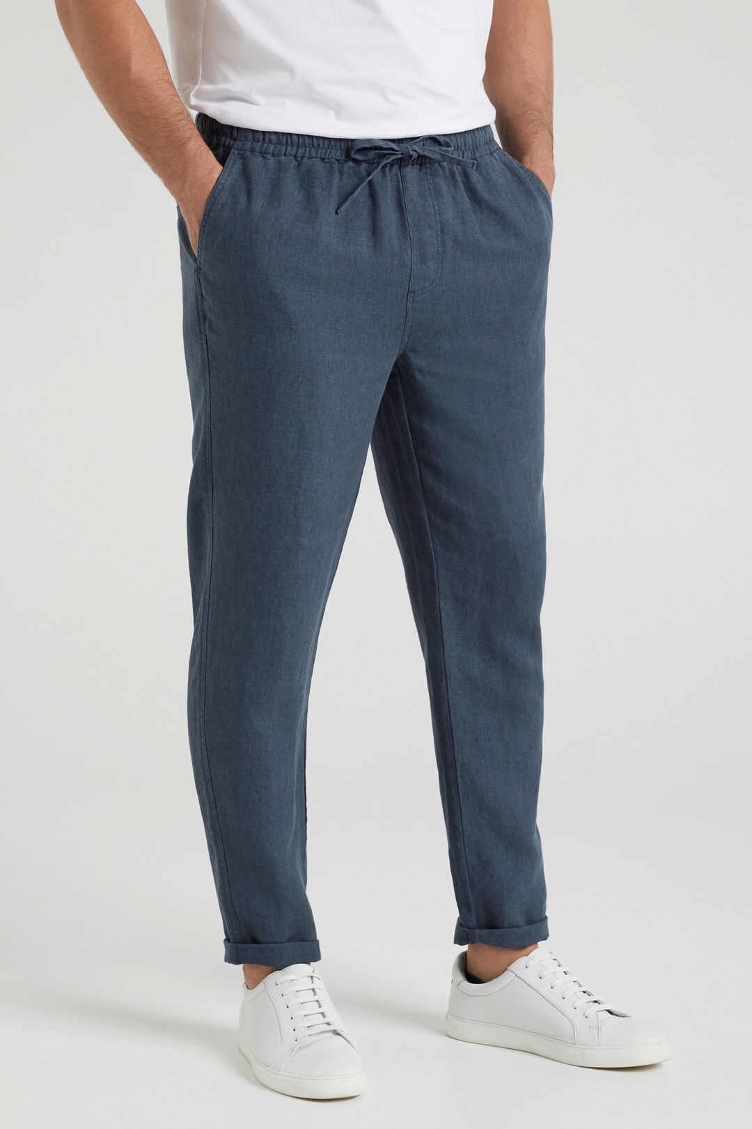LINEN PULL ON PANT  AIRFORCE BLUE  hi-res