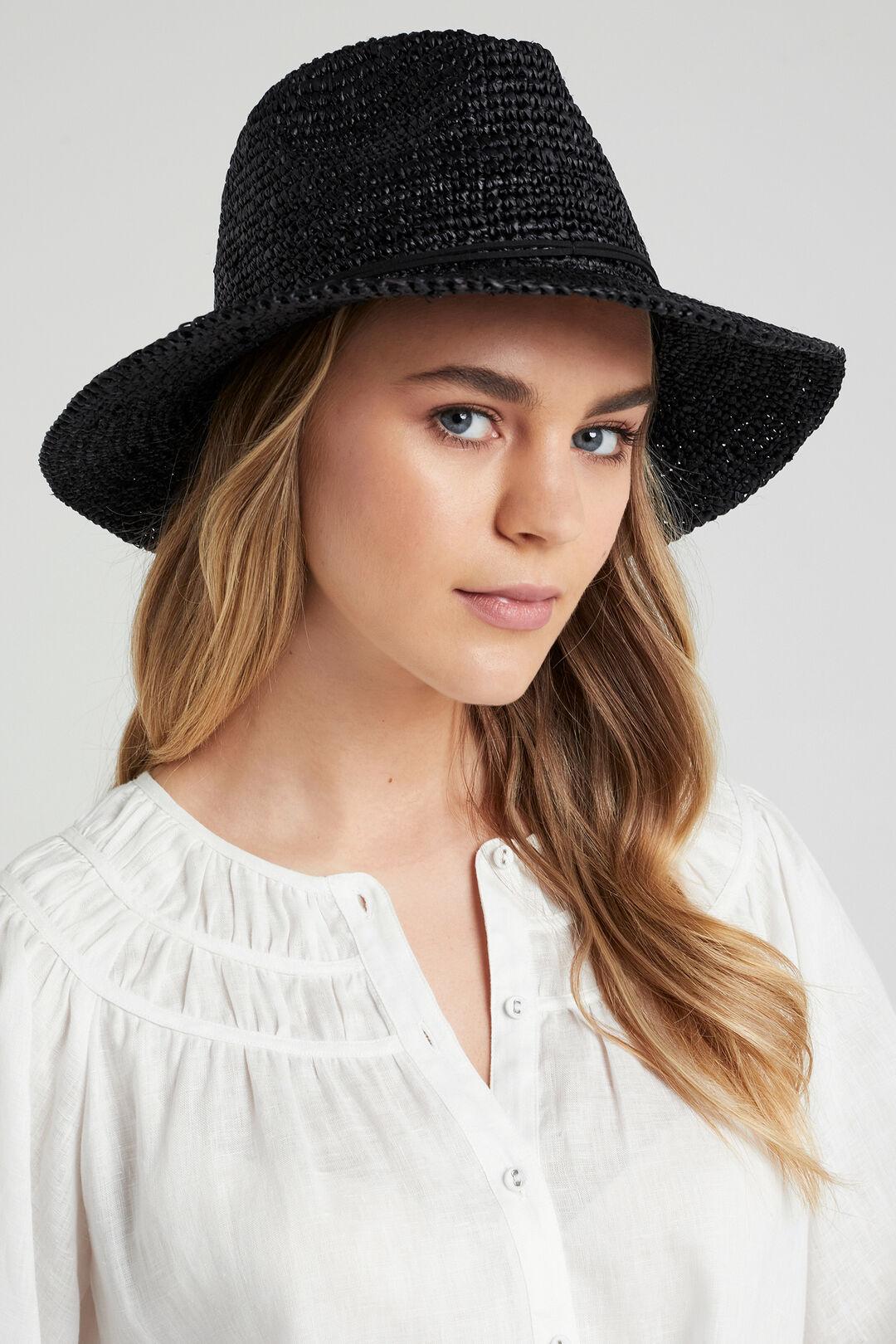 WIDE BRIM STRAW HAT  BLACK  hi-res