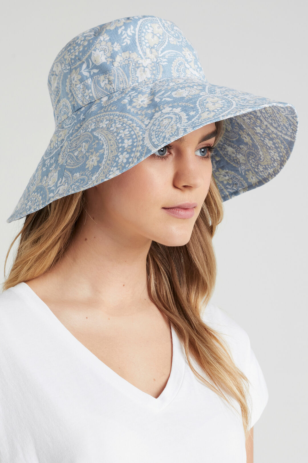 OVERSIZED BUCKET HAT  SOFT BLUE PAISLEY  hi-res