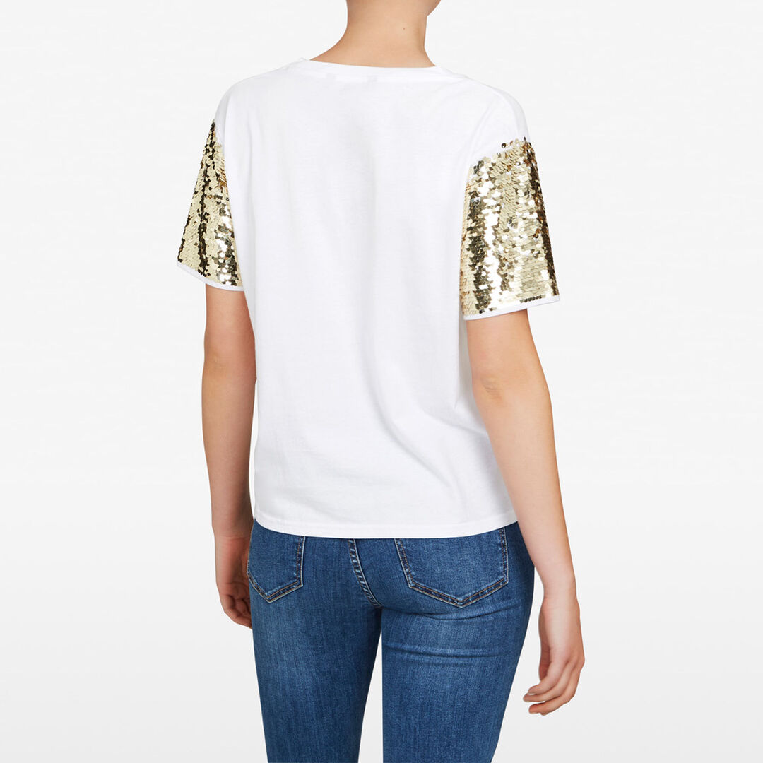 SEQUIN SLEEVE TEE  SUMMER WHITE/GOLD  hi-res