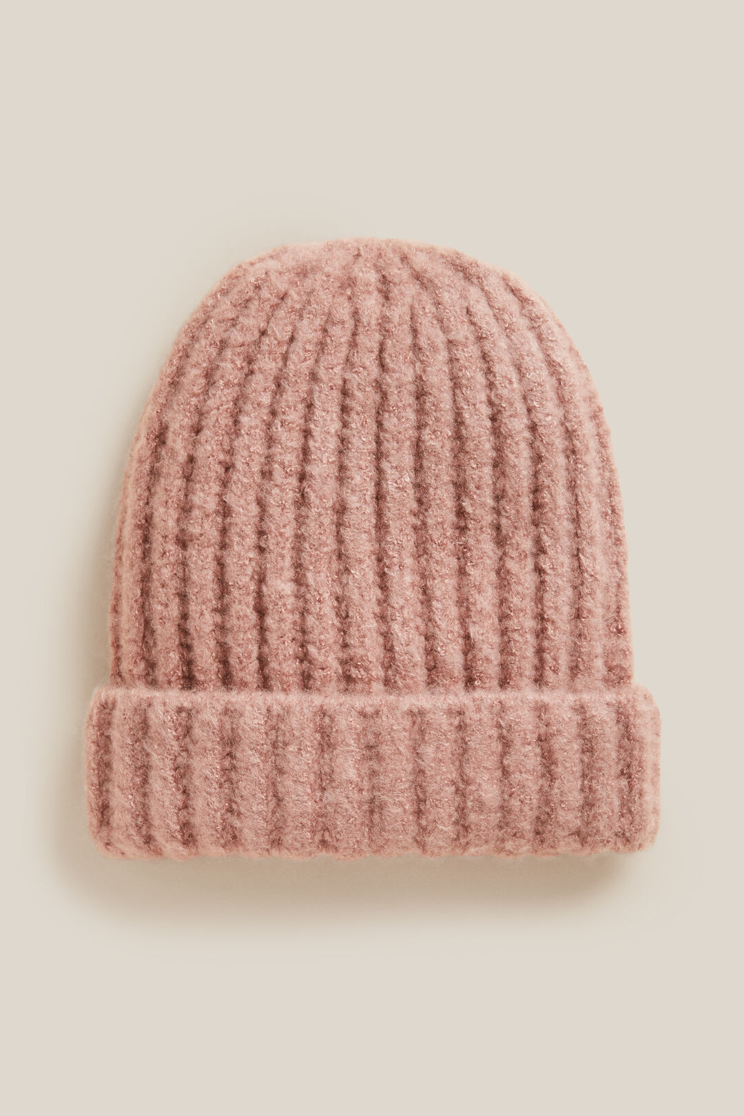RIB KNITTED BEANIE  DUSTY PINK  hi-res