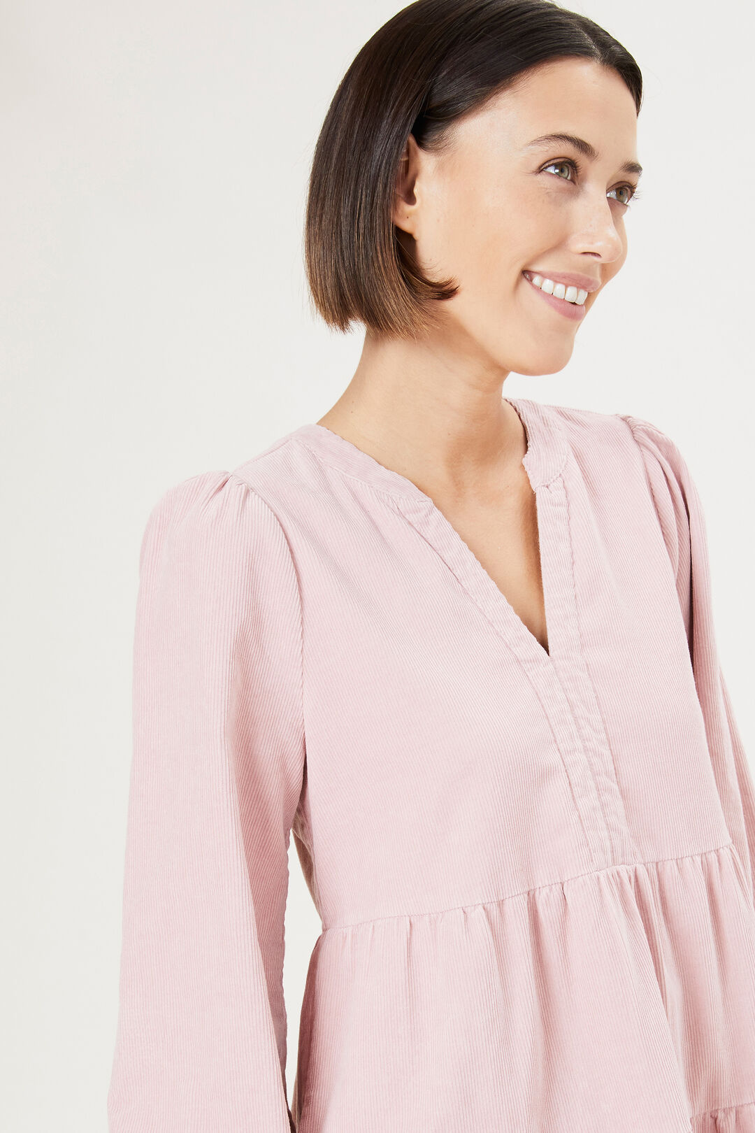 CORD TIERED DRESS  DUSTY PINK  hi-res