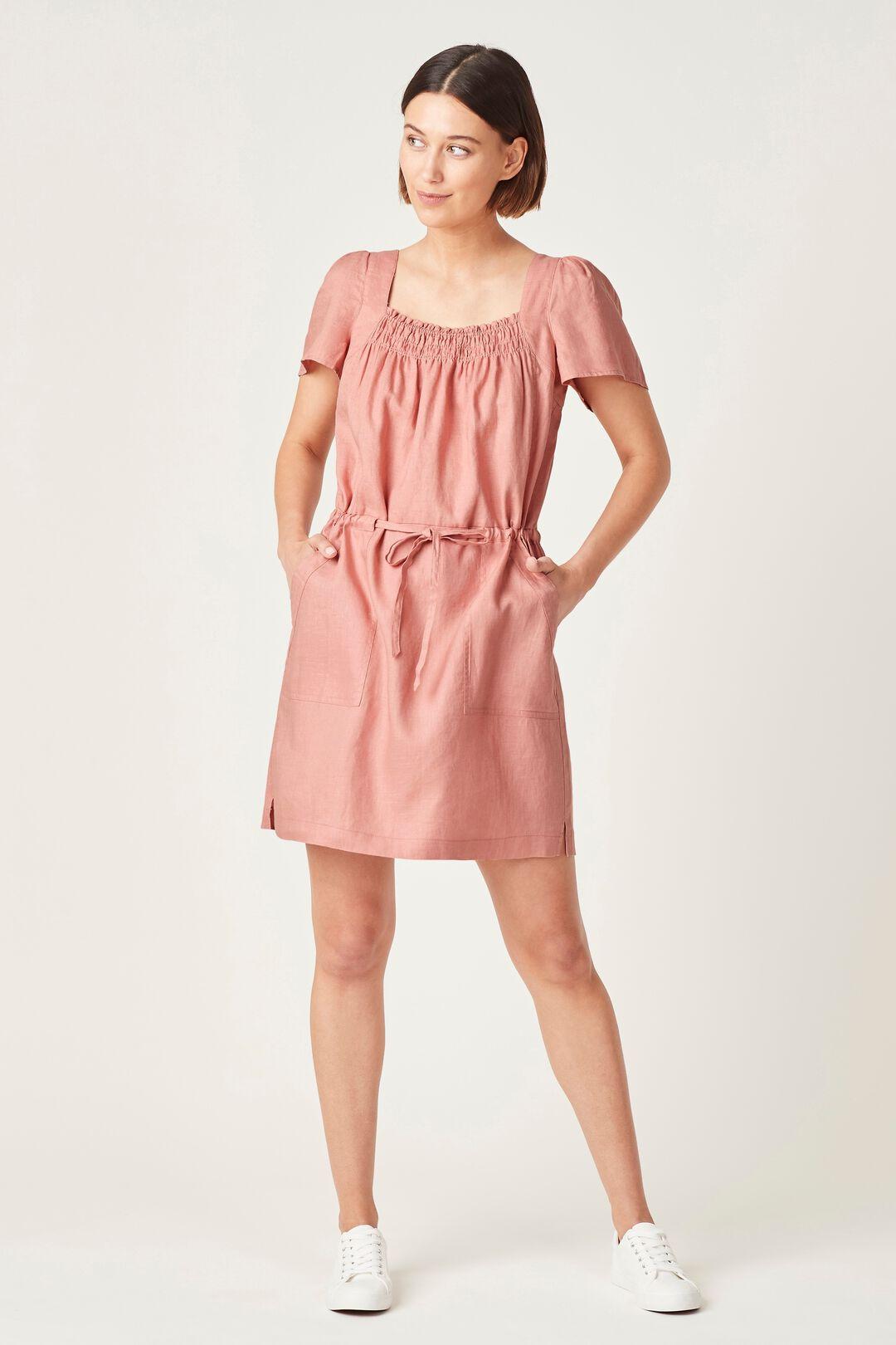 LINEN SHIRRED DRESS  DUSTY PINK  hi-res