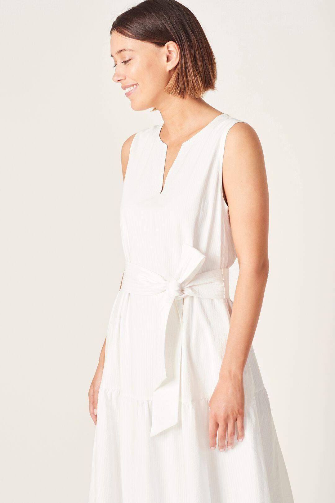 TEXTURED COTTON TIERED DRESS  SUMMER WHITE  hi-res