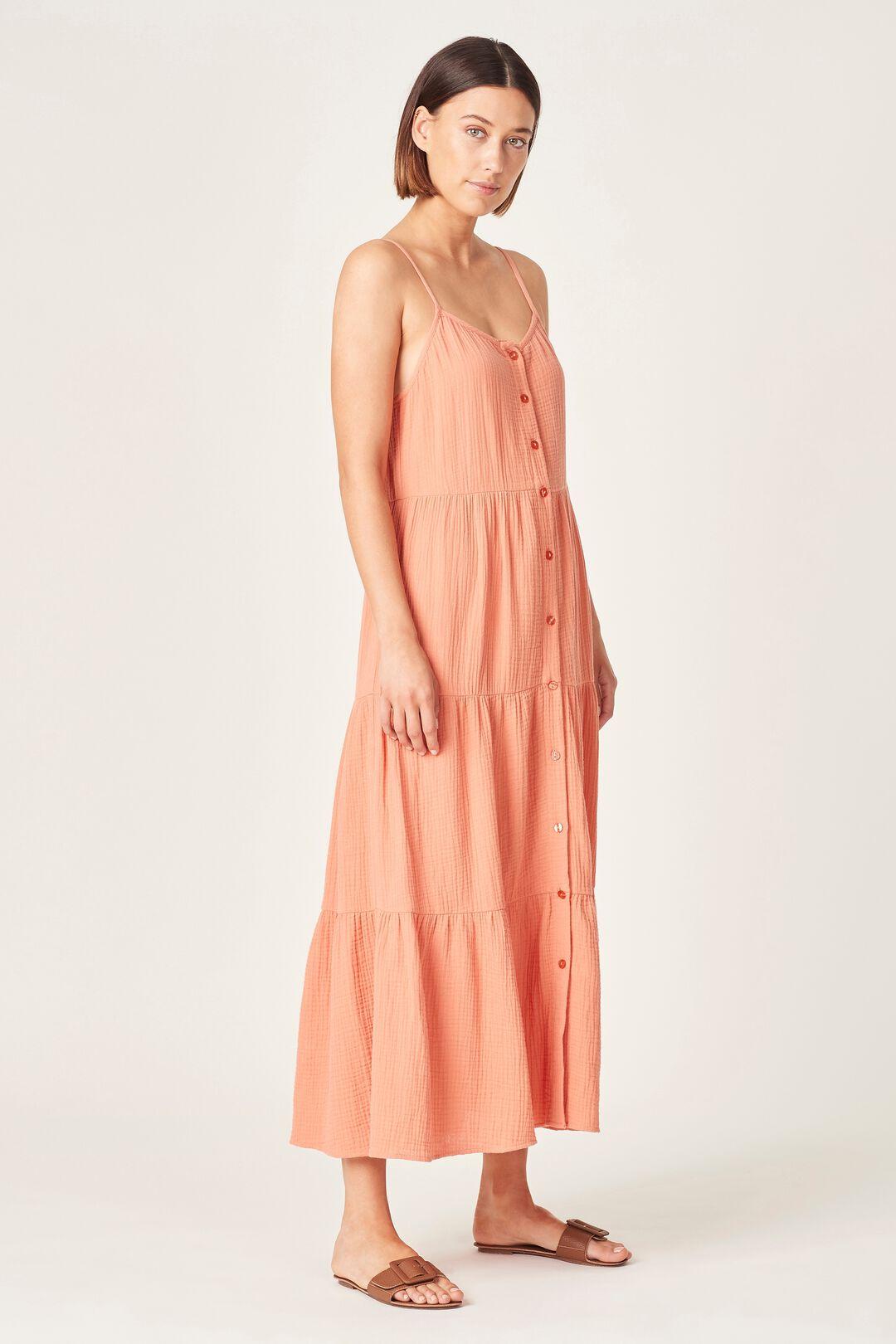 COTTON CRINKLE TIERED DRESS  BURNT ORANGE  hi-res
