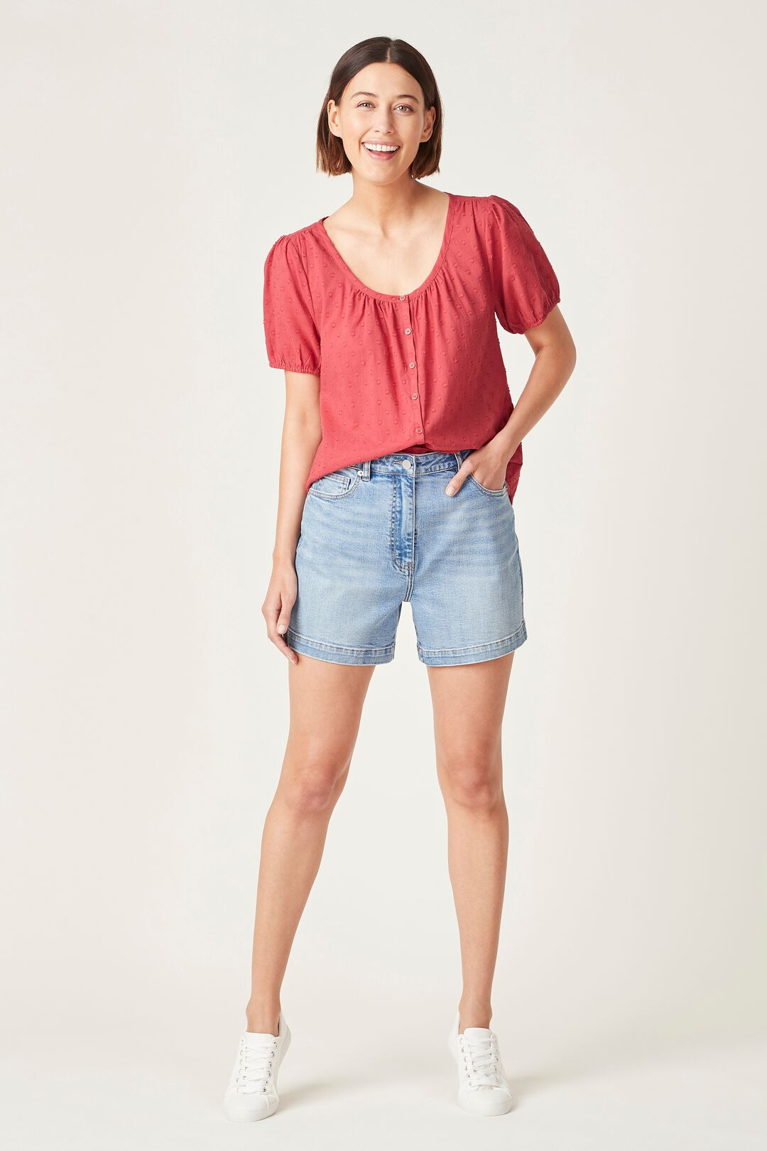 COTTON DOBBY BLOUSE  WASHED RED  hi-res