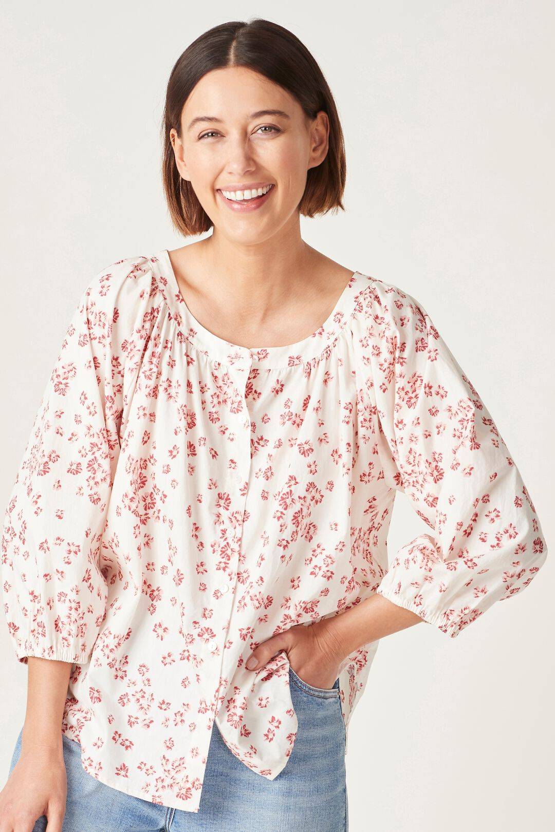 BUTTON DOWN COTTON BLOUSE  ECRU/WASHED RED  hi-res