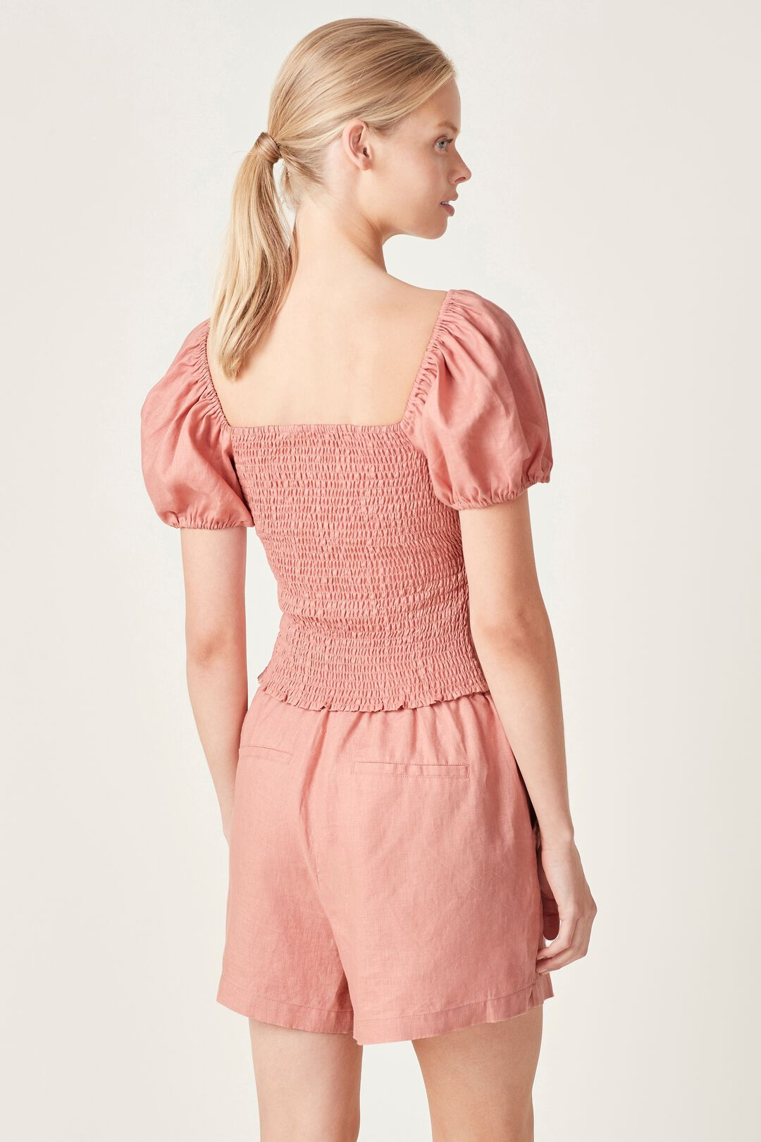 PUFF SLEEVE LINEN BLOUSE  DUSTY PINK  hi-res