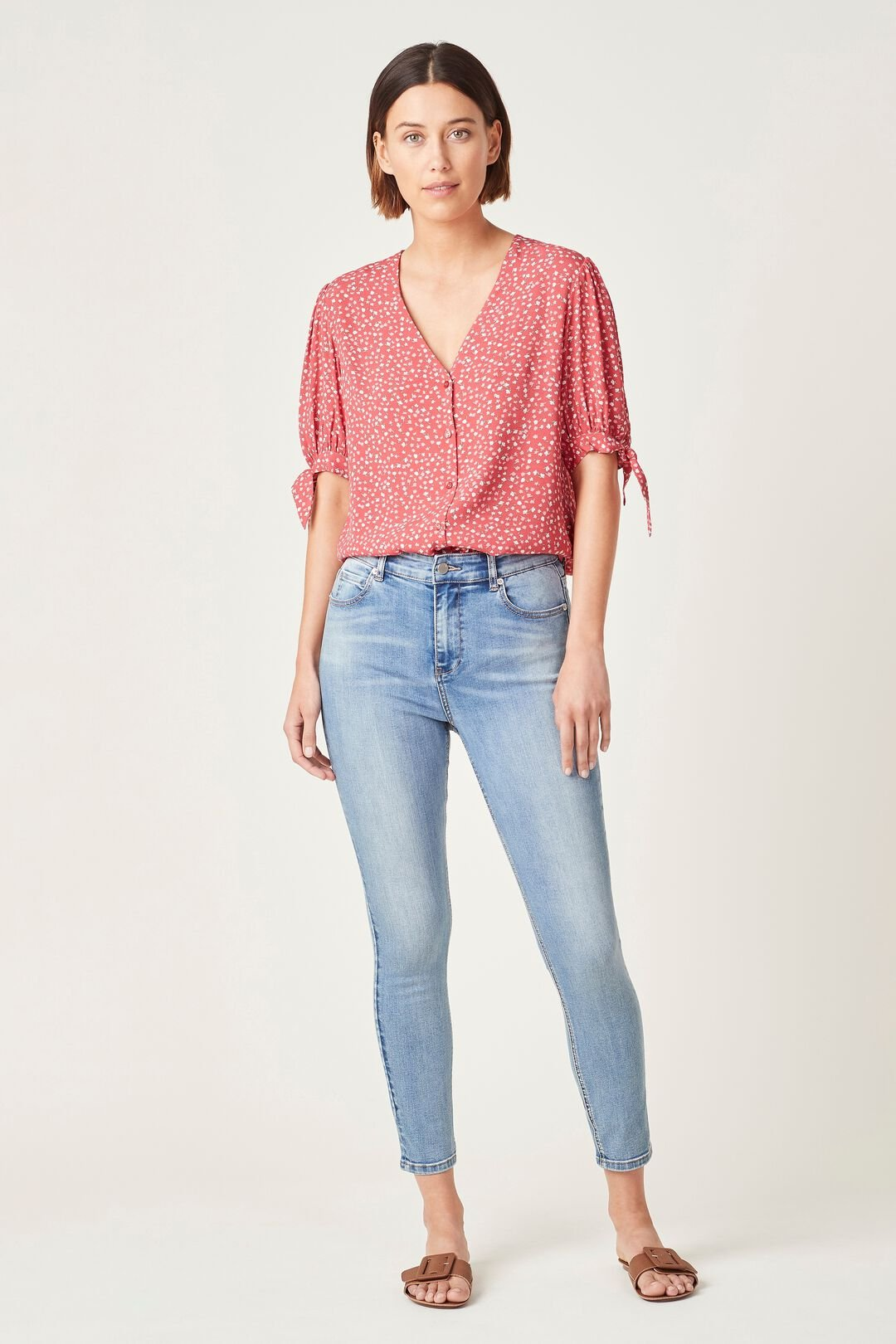 TIE SLEEVE FLORAL SHIRT  WASHED RED BLOSSOM  hi-res