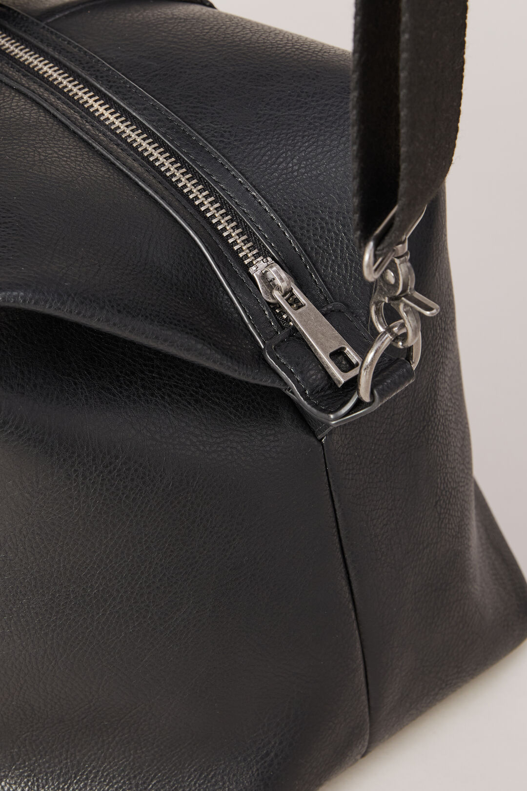 LEATHER LOOK HOLD ALL  BLACK  hi-res